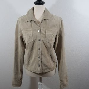 Live A Little Tan Suede Leather Jacket sz S